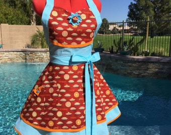 SALE - Sassy Pie Apron with Petticoat, Apple Pie Apron, Womens Misses and Plus Sizes, Hostess Apron, Kitchen Apron, Fall Apron, Thanksgiving
