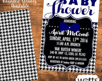 Baby Shower Invitation - Boy Houndstooth and Blue Bow Tie. Printable Download or Printed!