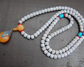 Buddhist Necklace,108 Beads,Barrel Beads,Nepalese Tibetan Necklace,Buddha Necklace,Prayer,Mala Necklace,Man,Woman,Meditation,Yoga Necklace