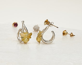 Inbeetween - sterling and 18kt gold bee earring jackets