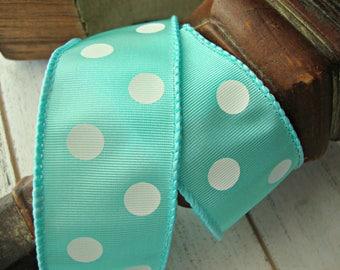 Pool Aqua Wired Grosgrain Ribbon with White Polka Dots