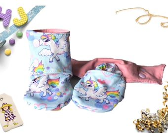Summer Babywearing Unicorns Stay on Booties, CUSTOM Baby Shoes That Don't Fall Off, Child Footwear, Lightly Lined, Unique Baby Shower Gift
