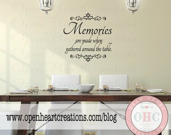 Dining Room Wall Decal Quote - Memories are Made When Gathered Around the Table Wall Decal 22H X 22W Qt0123
