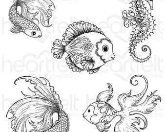Heartfelt Creations Under the Sea Cling Stamp Set HCPC-3739