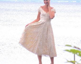 50s Dress, 1950s Party Dress, Lace Dress, Beaded Dress, Karen Stark for Harvey Berin, Vintage Bridal Dress