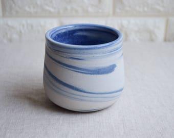 Blue and white marbled ceramic mug, contemporary mug, Ceramic Cup, Ceramic Tumbler, Porcelain Mug, Coffee Mug, interior design (M38)