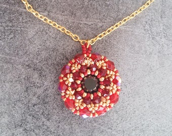 Necklace woven with Swarovski Crystal, Miyuki gold plated 24K and faceted Bohemian crystal