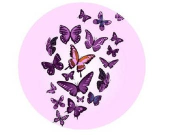 cabochon 25mm, pink and purple butterflies