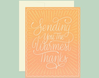 Sending You The Warmest Thanks Card | A2 | Thank You, Gradient, Ombre card, wedding thank you, stationery, cute orange thank you card