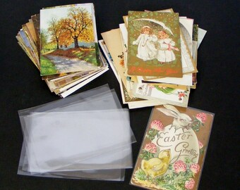 10 New Postcard Sleeves Acid Free Clear Polypropylene Archival Safe Craft Scrap Paper Storage Supply and Display Standard Size - 9412