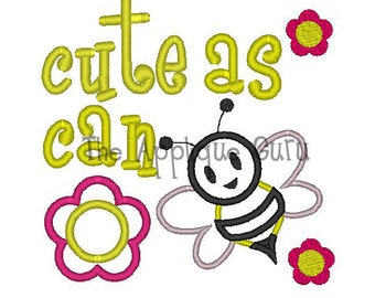Cute as can Bee Applique Machine Embroidery Design