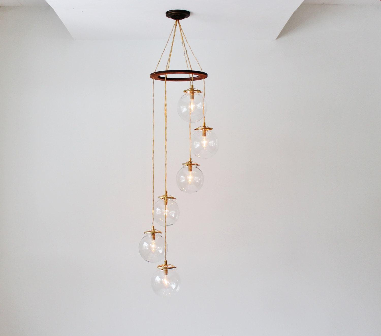 Globe Chandelier Spiral Hanging Chandelier Light Fixture 6