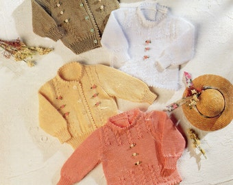 PDF, Instant Download, Baby Knitting Pattern, DK Wool, Picot Edge Jumpers and Cardigans