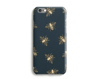 Bees Phone Case With Gold Texture, iPhone 7, 6s, Plus, SE, 5s, 5c, animal bumblebee insect wasp Samsung, S8, S8 Plus Google Pixel Dark Green