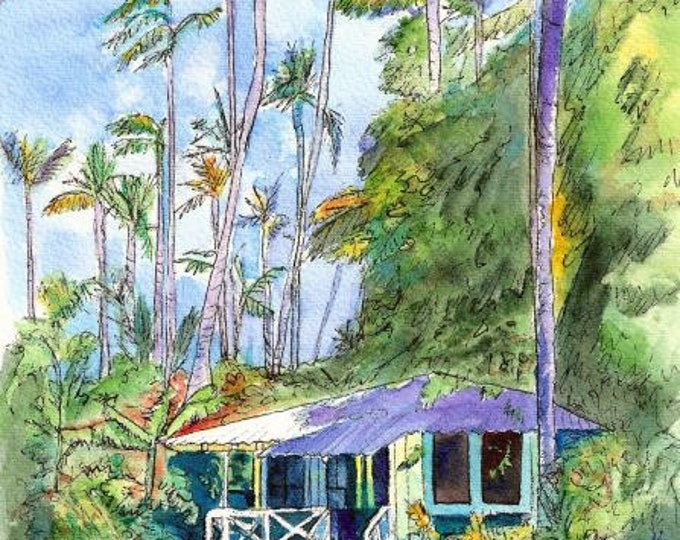 hawaiian cottage art, old plantation cottages, kauai art, waimea plantation cottages, Vacation art paintings, Hawaii wall art, blue houses