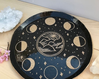 Mountain Moon Phase Plate / Black Brown