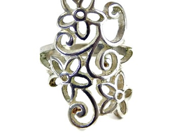 Flower Cut Out Knuckle Ring Silver Tone Size 5