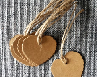 20 x heart shaped gift tags, rustic wedding party
