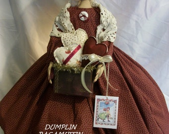 PATTERN, Primitive  doll with container of hearts, original  by Dumplinragamuffin,#201