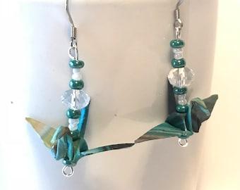 Paper earrings, origami crane earrings, origami crane, dangle earrings, green jewelry, first anniversary, gift for her,