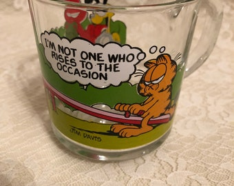 Vintage 70s McDonald's Garfield Collectible Quote Cartoon Glass Mug by Jim Davis
