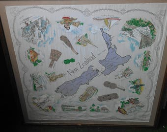New Zealand Map Silk Screened Tapestry with Scenic Sites Landmarks