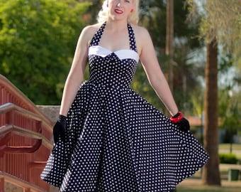 Black White Polka Dot Halter Dress-1950s Inspired Pin Up Dress-Swing-Sweetheart Bodice-Pleated Bust-Cotton-Pockets-Full Circle Skirt-
