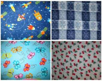 Fleece Fabric - Outer Space Rocket Ship, Winter Snowflake, Butterflies, and Cherries