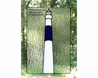Absecon Lighthouse Stained Glass Panel, Nautical Decor, Beach Decor, Coastal Decor, Lighthouse Decor, Glass Art, Beach House Decor, Gift