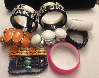 Nice Lot of Eleven Plastic Bangle and Stretch Fashion Bracelets - Free Shipping