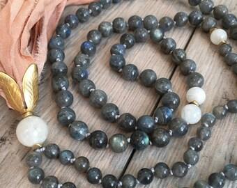 Labradorite and Moonstone Mala Bead Necklace/Mala Necklace/108 Mala Necklace/Hand-knotted/Sari Silk Tassel/Boho Tassel Necklace/Third Eye