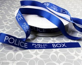 "Dr. Who Police Box 7/8"" Grosgrain Ribbon TARDIS Craft Supply Jumbo Print"