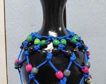 Gourd Rattle/Traditional Africian Instrument/Shekere/Black Rattle/Wood Beads & Blue Rope Rattle/