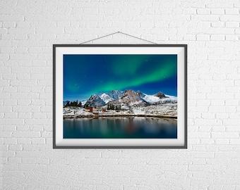 Fine Art Photography Print - Travel, Landscape, Mountains - Aurora in Lofoten - Norway