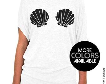 Mermaid Seashells, Mermaid Top, Mermaid Shell Shirt, Slouchy Tee Shirt, Mermaid, Summer Top,Cute Shirt,Shell Top,Womens Shirt,Beach Cover Up