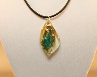 Leaf Pendant Murano Glass handmade