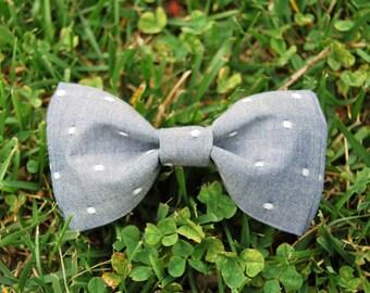 Light Denim Polka Dot Bow tie