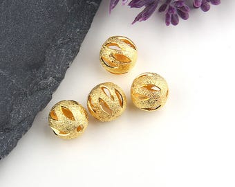 Gold, Stardust Laser Cut Ball Beads, Laser Beads, Laser Cut Brass Beads, 4 pieces // GB-203