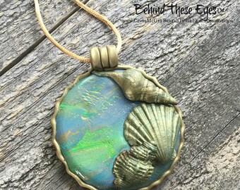 Mermaid's, Treasure, Seashells, Beach Themed, Hand-Made, Polymer Clay Pendant - Unique Design