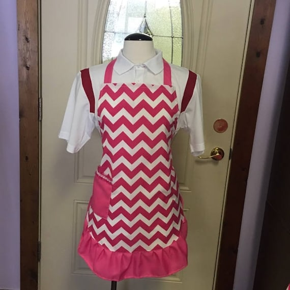 Personalized Ruffled Hot Pink Chevron Apron