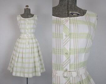 1950's Green and White Plaid Cotton Sun Dress / Size Small Medium