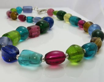 Colorful Glass Bead Necklace