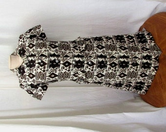 Vintage 1950's Shirt Dress Collar Button Front Short Sleves Handmade Dress XXS