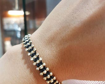 İtalian Balls 14k Solid Gold Bracelet with Black Cord Different Cord Colors Available