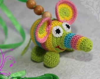 Crochet rattle Funny Elephant Baby rattle New baby toy Crochet toy Toddler toy Crochet baby toy Animal toy Toy handmade Nursery toy