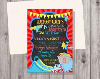 Digital Chalkboard Style Water Wars Water Slide Water Guns and Balloons Splash Birthday Boy Invitation Printable