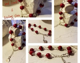 Red Coral and Sterling Silver Bracelet Boho