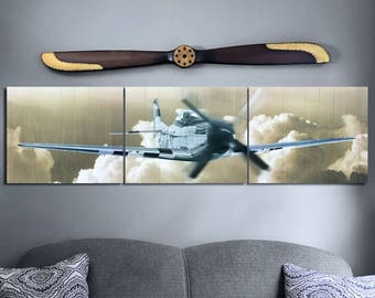 P-51 Fly By Aviation Triptych Art