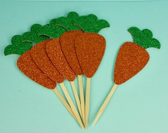 Set of 6, 24 or 48 Glitter Easter Carrot Cupcake or Cake Toppers