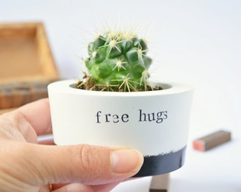 "Cactus lover gift, succulent, indoor planter, pot, vase with quote ""free hugs"", funny mothers fathers gift, for her him, cool desk decor"
